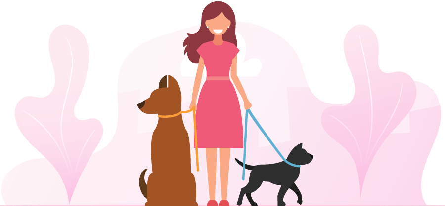 illustration of woman with dogs