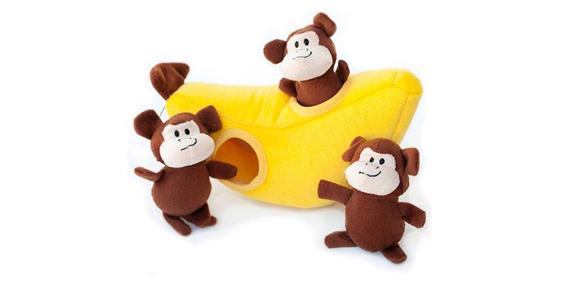 cute dog toys - monkeys with banana