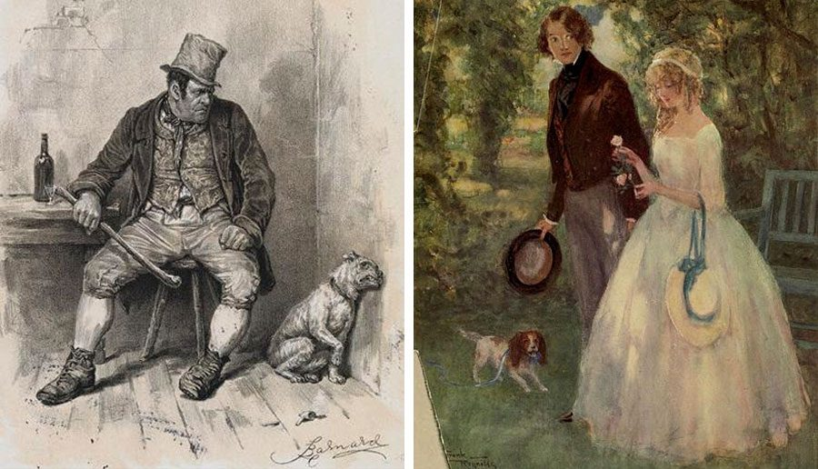 Famous dogs from literature - Bullseye from Oliver Twist & Jip from David Copperfield