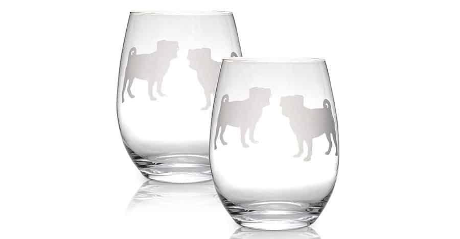 Pug wine glass