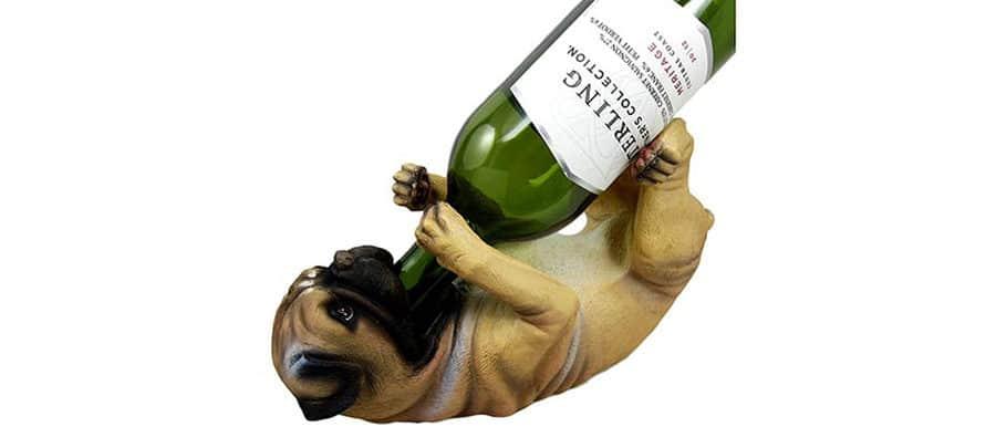 Pug wine bottle holder